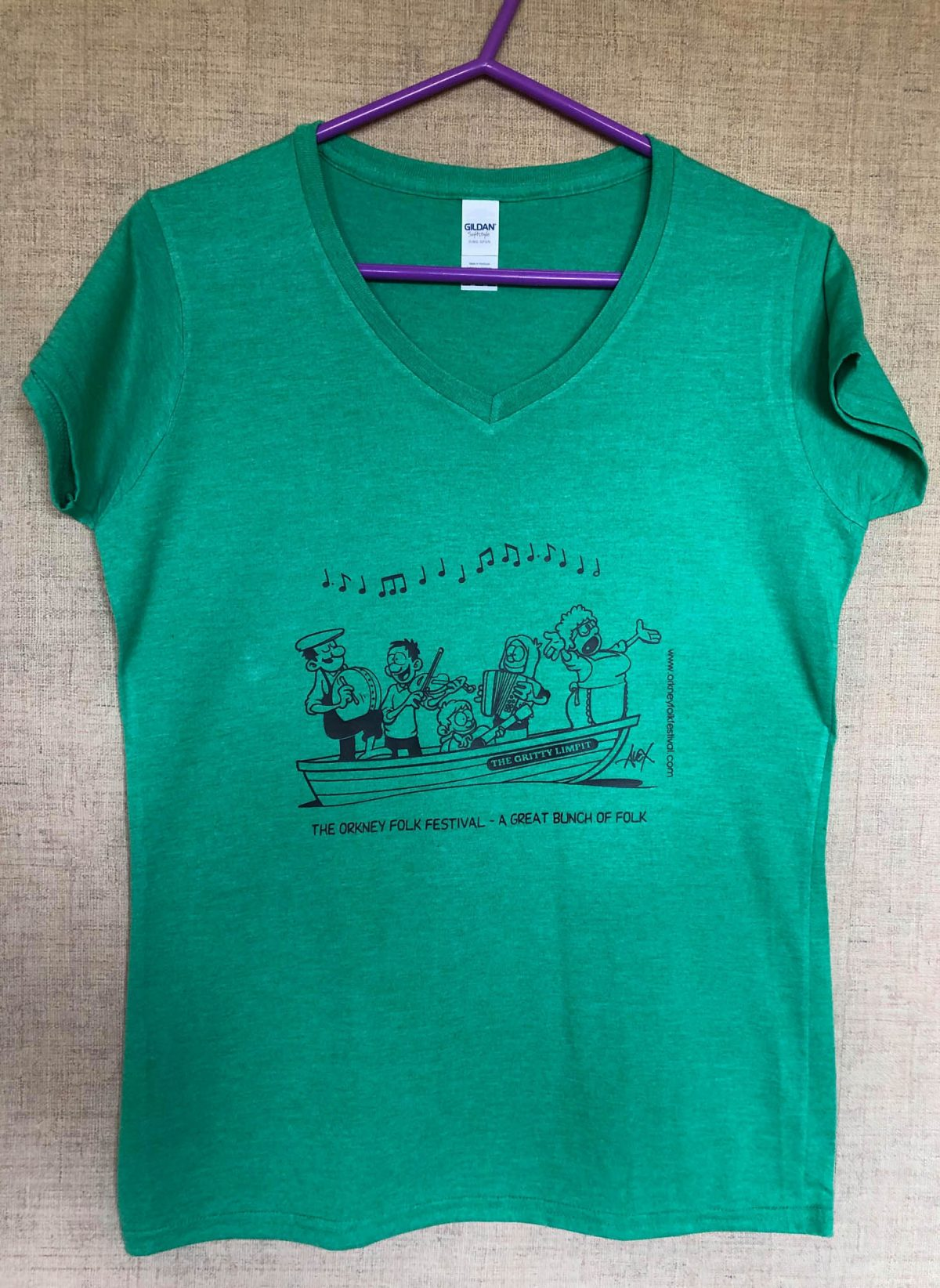 T-shirt Ladies fit V neck The Gritty Limpet Green